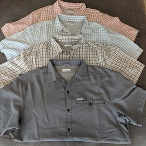 Four men's short sleeves button up Columbia shirts